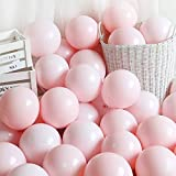 5 Inch Mini Pink Party Pearl Balloons,200 pcs Light Pink Macaron Latex Balloons for Birthday Wedding...