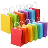 24 Pieces Kraft Paper Party Favor Gift Bags with Handle Assorted Colors (Rainbow)