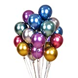 Colorful Party Balloons 100pcs 12inch Chrome Metallic Helium Balloons for Birthday Party Decoration...