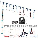 Ninja Warrior Obstacle Course for Kids 50' Slackline Kit, Jungle Gym Monkey Bars Kit for Kids and...