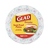 Glad Round Disposable Paper Plates for All Occasions | Soak Proof, Cut Proof, Microwaveable Heavy...