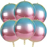 4D Balloons 6Pcs 22 inch Gradient Rainbow Mylar Foil Balloons Round Sphere Foil Balloon, Great for...