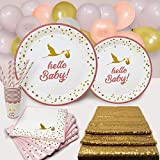 Pink and Gold Baby Shower Plates and Napkins for Girl Party Supplies and Decorations Set Disposable...