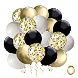 Black and Gold Confetti Balloons, 50 Pack 12inch White Latex Party Balloon Set with Gold Ribbon for...