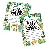 25 Jungle Safari Zoo, Elephant Animals Themed Kids Party Invitation, Crown Lion Tropical Invite,...