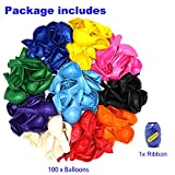 Premium 100 Balloons, Latex Party Helium Colored Balloons, 10 Assorted Colors 12 Inch Rainbow...