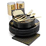 N9R 25Guest Black and Gold Plastic Plates Set, Halloween Dinnerware Sets Including 25 Set of Dinner...