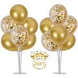 Balloons Stand Kit Table Decorations,2 Set with 14 Sticks, 14 Cups, 2 Base, 16 Gold Balloons for...
