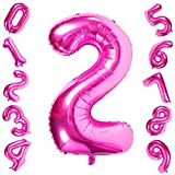 Pink 2 Balloons,40 Inch Birthday Foil Balloon Party Decorations Supplies Helium Mylar Digital...