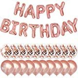 PartyForever Rose Gold Happy Birthday Balloons 16inch Letters Banner Birthday Party Decorations and...
