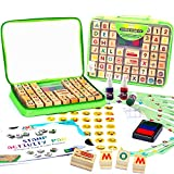 Wooden Stamp Set for Kids with Alphabet Stamps and Carry Case 72 Pcs – Letters, Numbers, Emojis,...
