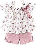Toddler Baby Girls Clothes Ruffle Cami Polka Dot Tank Tops Blouse Striped Shorts Pants Summer Outfit...