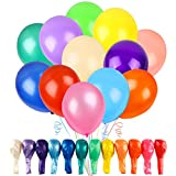 RUBFAC 120 Assorted Color Balloons 12 Inches 12 Kinds of Rainbow Party Latex Balloons, Latex...