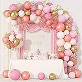 144 Pcs Rose Gold Pink Balloons Garland Arch Kit 12''10''5'' Light Pink Gold White Confetti Latex...