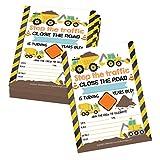 25 Orange Tractor Road Construction Zone Birthday Party Invitations For Boy, Bulldozer Truck Digging...