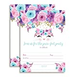 Kitty Cat Face with Pink Blue and Purple Watercolor Flowers Birthday Party Invitations for Girls, 20...
