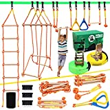 X XBEN Ninja Obstacle Course for Kid, 2 X Slackline Kit 50' with 8 Accessories Monkey Bar,...