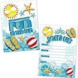 Summer Beach Party Invitations - Swimming Pool Party Invites (20 Count with Envelopes) - Kids Summer...