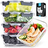 Zulay Large 5 Pack Glass Storage Containers With Lids - 36 oz Glass Food Storage Containers With...