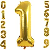 PartyMart gold Foil Balloons Number 1, 42 inch
