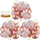 60 PACK Dandy Decor Rose Gold Balloons + Confetti Balloons w/ Ribbon | Rosegold Balloons for Parties...