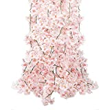 CEWOR 4pcs Artificial Cherry Blossom Flower Vines Hanging Silk Flowers Garland for Wedding Party...