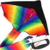 IMPRESA Large Rainbow Delta Kite - Easy to Assemble, Launch, Fly - Premium Quality, Great for Beach...