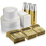 700 Piece Gold Dinnerware Set - 200 Gold Rim Plastic Plates - 300 Gold Plastic Silverware - 100 Gold...