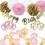 Birthday Decoration, Happy Birthday Banner, Tissue Flower, Confetti Balloons for 16th 18th 21st 30th...