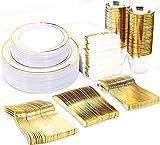 BUCLA 350PCS Gold Plastic Plates With Disposable Plastic Silverware&Hand Napkins- Gold Plastic...
