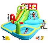 WELLFUNTIME Inflatable Water Slide Park with Splash Pool Climb The Wall, 3 Inflatable Sport Balls...