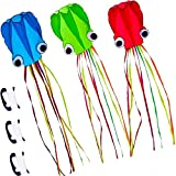 3 Pack Octopus Kite, 3D Kite Long Tail Easy Flyer Kite Beach Kites People Adults Gift 3 Colors (Blue...