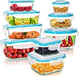 Utopia Kitchen Glass Food Storage Container Set - 18 Pieces (9 Containers and 9 Lids) - Transparent...