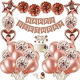 Birthday Decoration Women, Birthday Balloons Rose Gold with DIY Cake Topper, Happy Birthday Banner,...