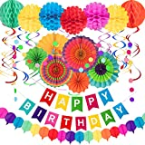 Whaline 28Pcs Colorful Birthday Decorations, Fiesta Hanging Paper Fans,Hanging Swirl,Polka Dot...