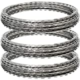 Yamcyh 150FT Razor Wire, Galvanized BTO-22 Razor Wire Fence Stretched Ribbon Barbed Wire Coils for...