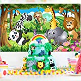 Safari Animals Decorations, Extra Large Fabric jungle safari backdrop banner for Jungle Theme Party...