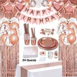 Rose Gold Birthday Party Decorations, Rose Gold Party Decorations Set for Girls Or Women, Happy...
