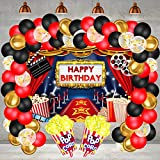 Hollywood Movie Theme Party Decorations, Large Fabric Hollywood Backdrop, Popcorn Foil Balloons...