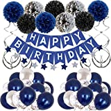 Birthday Decorations Men Blue Birthday Party Decorations for Men Women Boys Grils, Happy Birthday...
