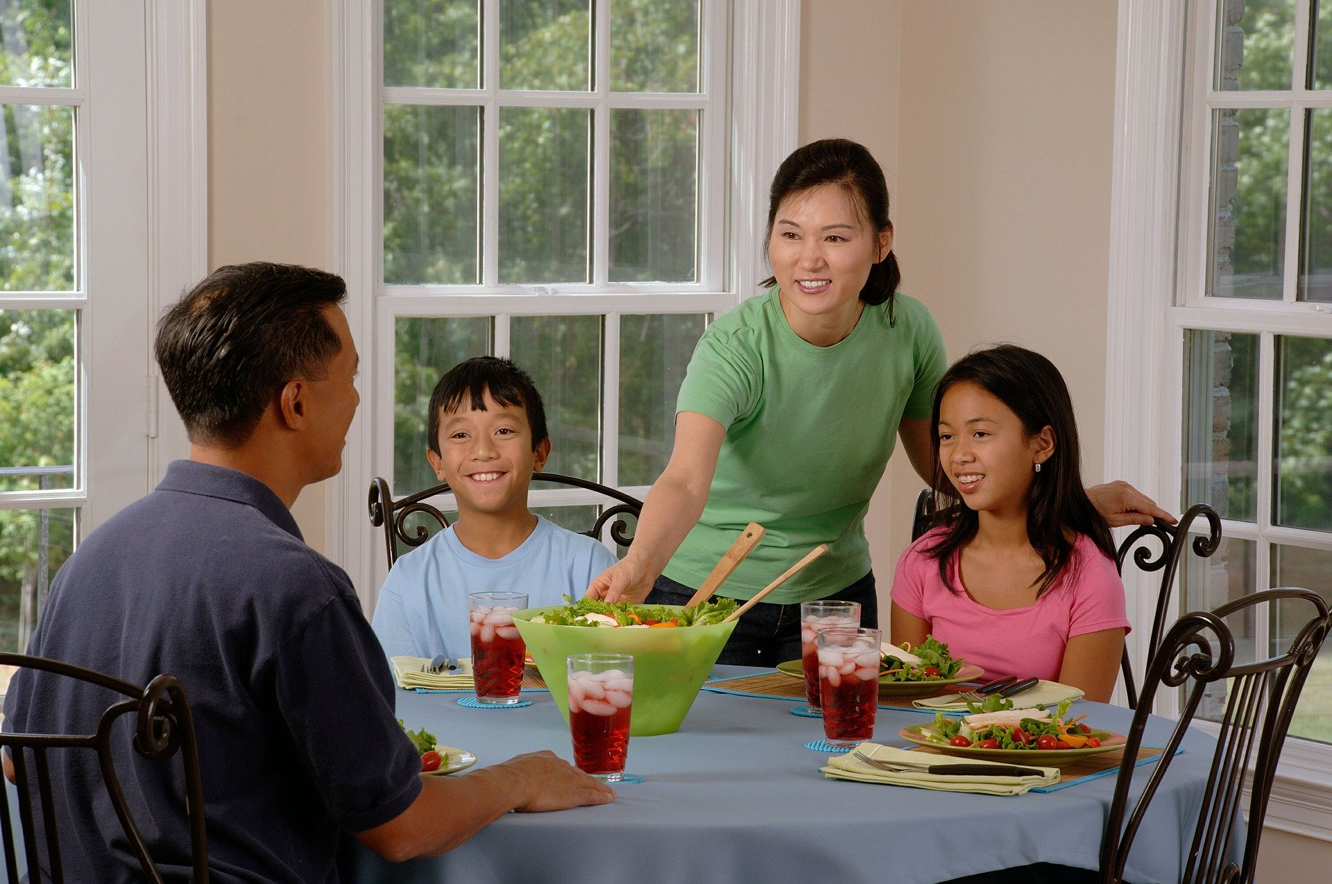 Happy family dinner at home
