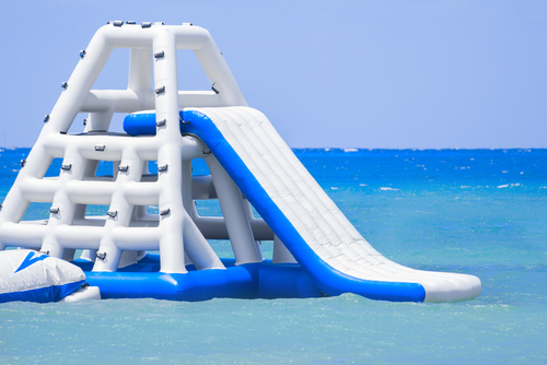 Water slide on a water park