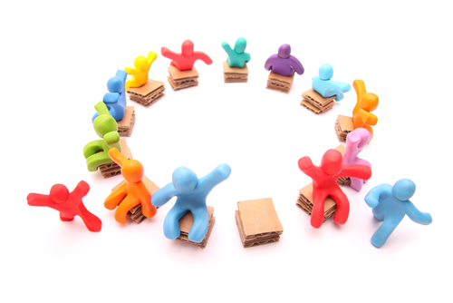 Running for the Last Free Spot - Colorful Group of Plasticine People Playing Musical Chairs