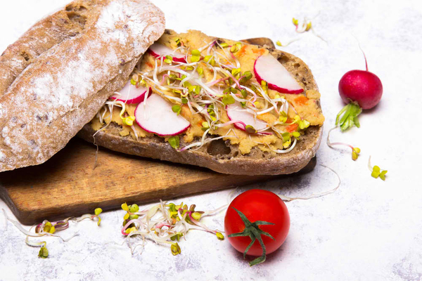 Healthy breakfast: tasty sandwiches with vegetables