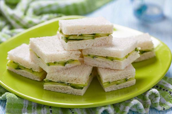 Cucumber sandwiches on plate