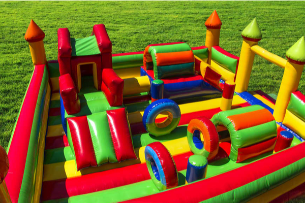 Inflatable children's castle at playground from the bird's eye view