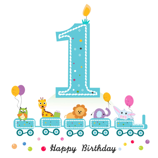 Happy first birthday greeting card. Birthday train with animals