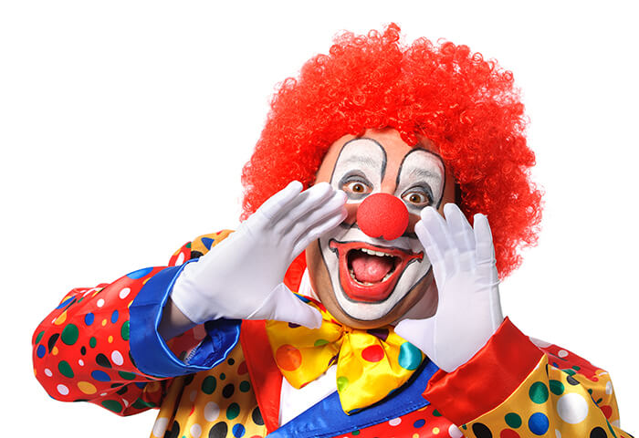 a funny clown who's screaming - clown or magician