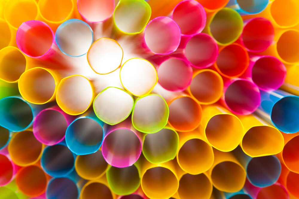 essential party supplies - colorful plastic straws, close up