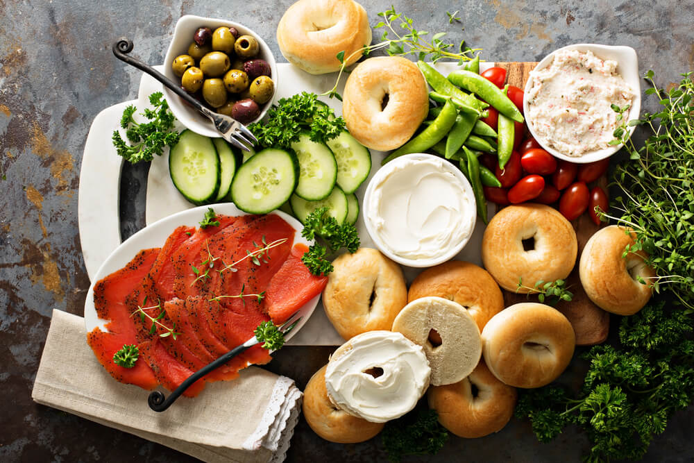 food for parents at a kids' party - bread and spread platter